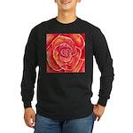 Red-Orange Rose Long Sleeve Dark T-Shirt