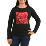 Red-Orange Rose Women's Long Sleeve Dark T-Shirt