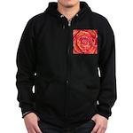 Red-Orange Rose Zip Hoodie (dark)