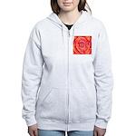 Red-Orange Rose Women's Zip Hoodie