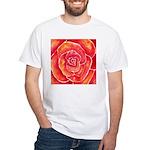 Red-Orange Rose White T-Shirt