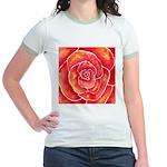 Red-Orange Rose Jr. Ringer T-Shirt