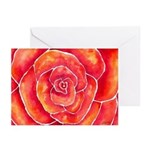 Red-Orange Rose Greeting Cards (Pk of 10)