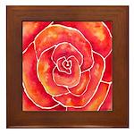 Red-Orange Rose Framed Tile