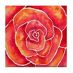 Red-Orange Rose Tile Coaster