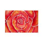 Red-Orange Rose Rectangle Magnet (100 pack)