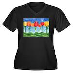 Tulip Trees Women's Plus Size V-Neck Dark T-Shirt