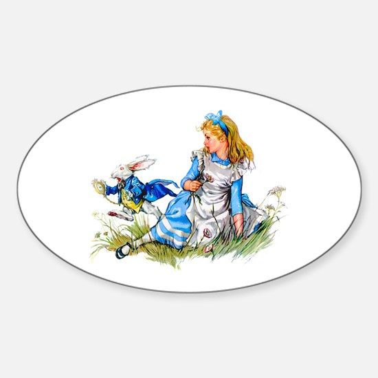 ALICE & THE RABBIT Oval Decal