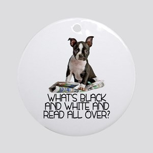 Boston Terrier Riddle Ornament (Round)