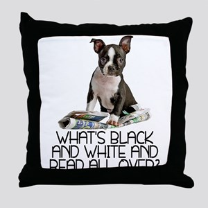 Boston Terrier Riddle Throw Pillow