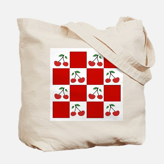 cherries/red check (2 sided) Tote Bag