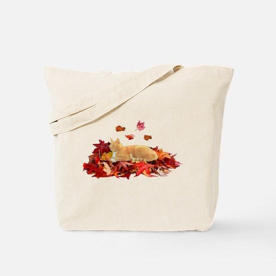 ORANGE TABBY CAT ON LEAVES Tote Bag
