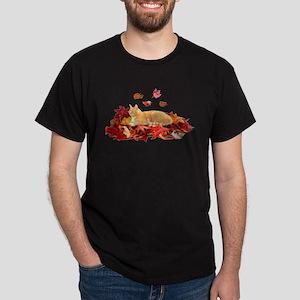 ORANGE TABBY CAT ON LEAVES Dark T-Shirt
