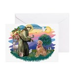 St Francis #2/ Golden Ret (B4) Greeting Cards (Pk