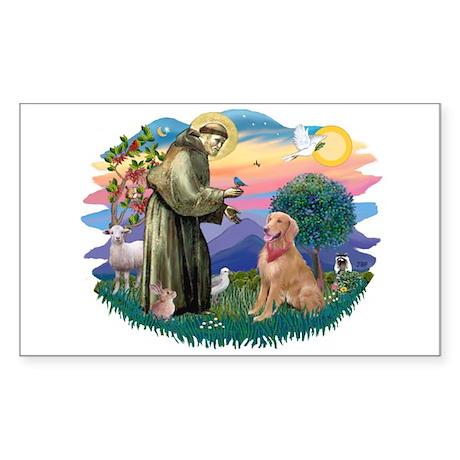 St Francis #2/ Golden Ret (B4) Sticker (Rectangle)