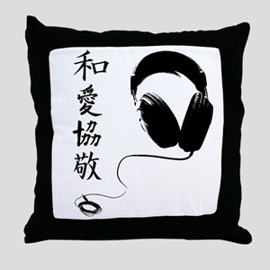 Headphones P.L.U.R. Kanji Throw Pillow