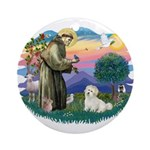 St Francis #2/ Coton De Tulear Ornament (Round)
