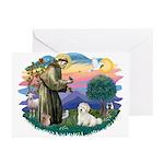 St Francis #2/ Coton De Tulear Greeting Cards (Pk