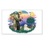 St Francis #2/ Coton De Tulear Sticker (Rectangle)