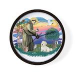 St Francis #2/ Coton De Tulear Wall Clock