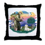 St Francis #2/ Coton De Tulear Throw Pillow