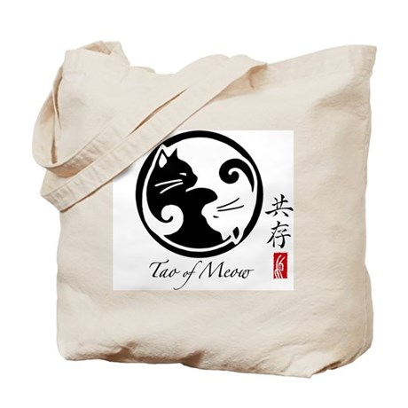 2-Sided Yin Yang Cats Canvas Tote Bag