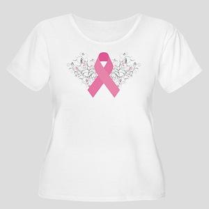 Pink Ribbon Design 3 Women's Plus Size Scoop Neck
