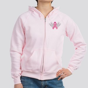Pink Ribbon Design 3 Women's Zip Hoodie