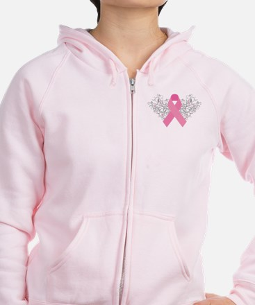 Pink Ribbon Design 3 Zip Hoody