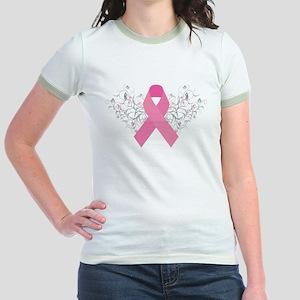 Pink Ribbon Design 3 Jr. Ringer T-Shirt