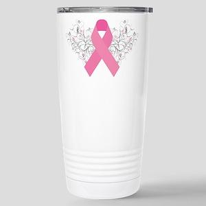 Pink Ribbon Design 3 Stainless Steel Travel Mug