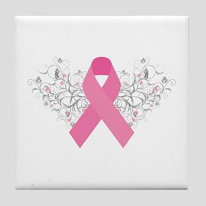 Pink Ribbon Design 3 Tile Coaster