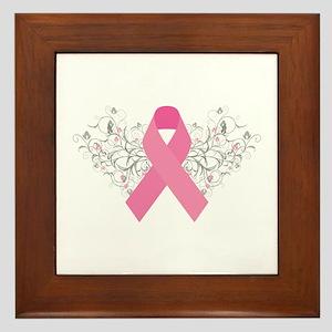 Pink Ribbon Design 3 Framed Tile