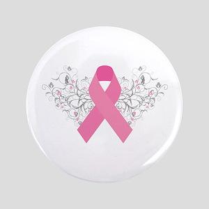 "Pink Ribbon Design 3 3.5"" Button"