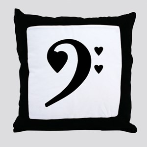 Bass Clef Love Notes Throw Pillow