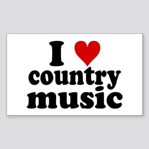I Heart Country Music Sticker (Rectangle)