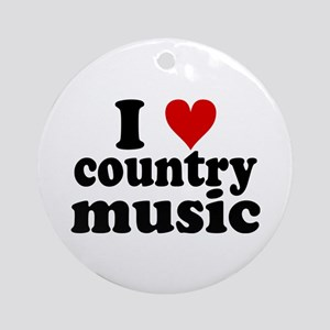 I Heart Country Music Ornament (Round)