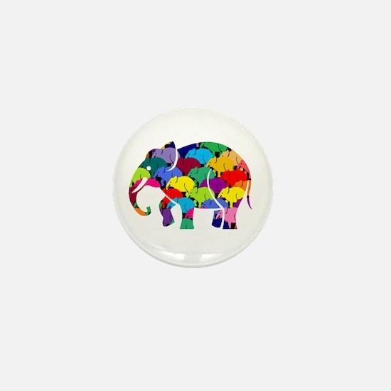 Cute Elephant rainbow Mini Button