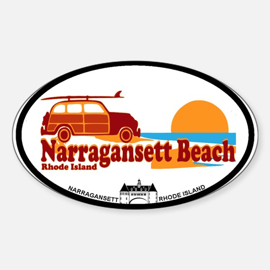 Narragansett RI - Surfing Design Sticker (Oval)