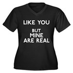 Mine Are Real Women's Plus Size V-Neck Dark T-Shir