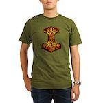 Thor's Hammer (Fire) Organic Men's T-Shirt (dark)