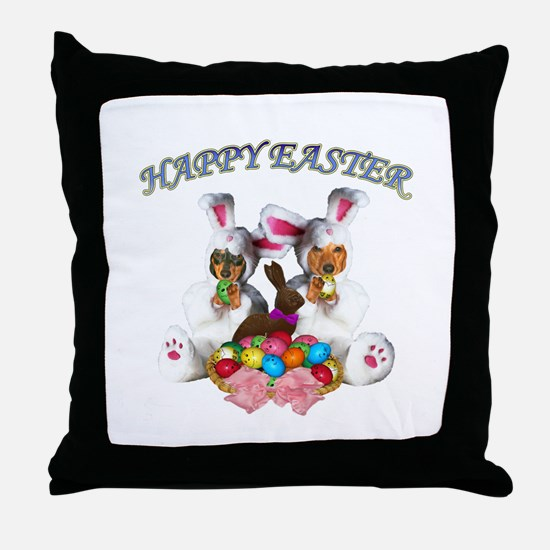 Easter Doxies Throw Pillow