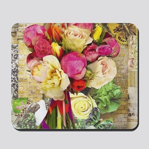 Vibrant Peonies and Roses Mousepad