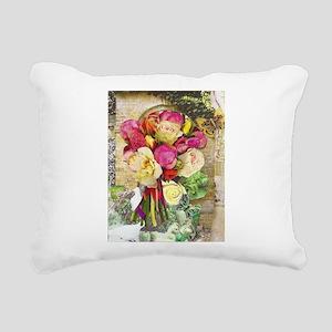Vibrant Peonies and Rose Rectangular Canvas Pillow