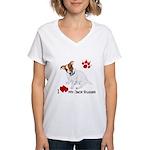 Love My Jack Russell Terrier Women's V-Neck T-Shir