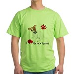 Love My Jack Russell Terrier Green T-Shirt