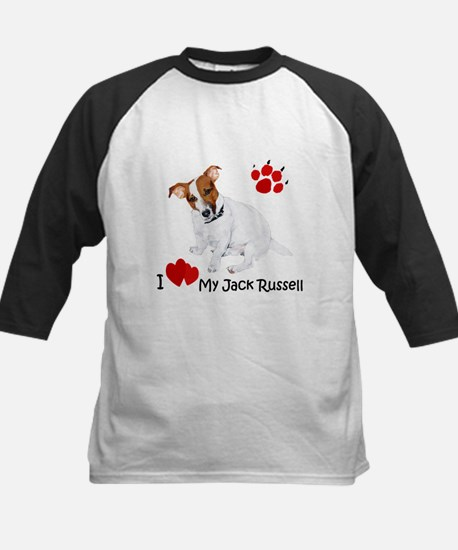 Love My Jack Russell Terrier Kids Baseball Jersey