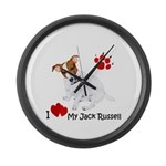Love My Jack Russell Terrier Large Wall Clock