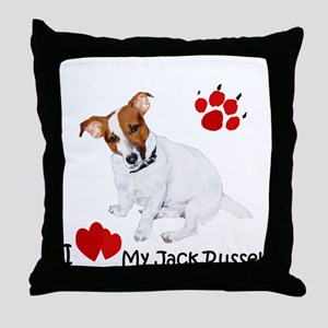 Love My Jack Russell Terrier Throw Pillow