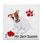 Love My Jack Russell Terrier Tile Coaster